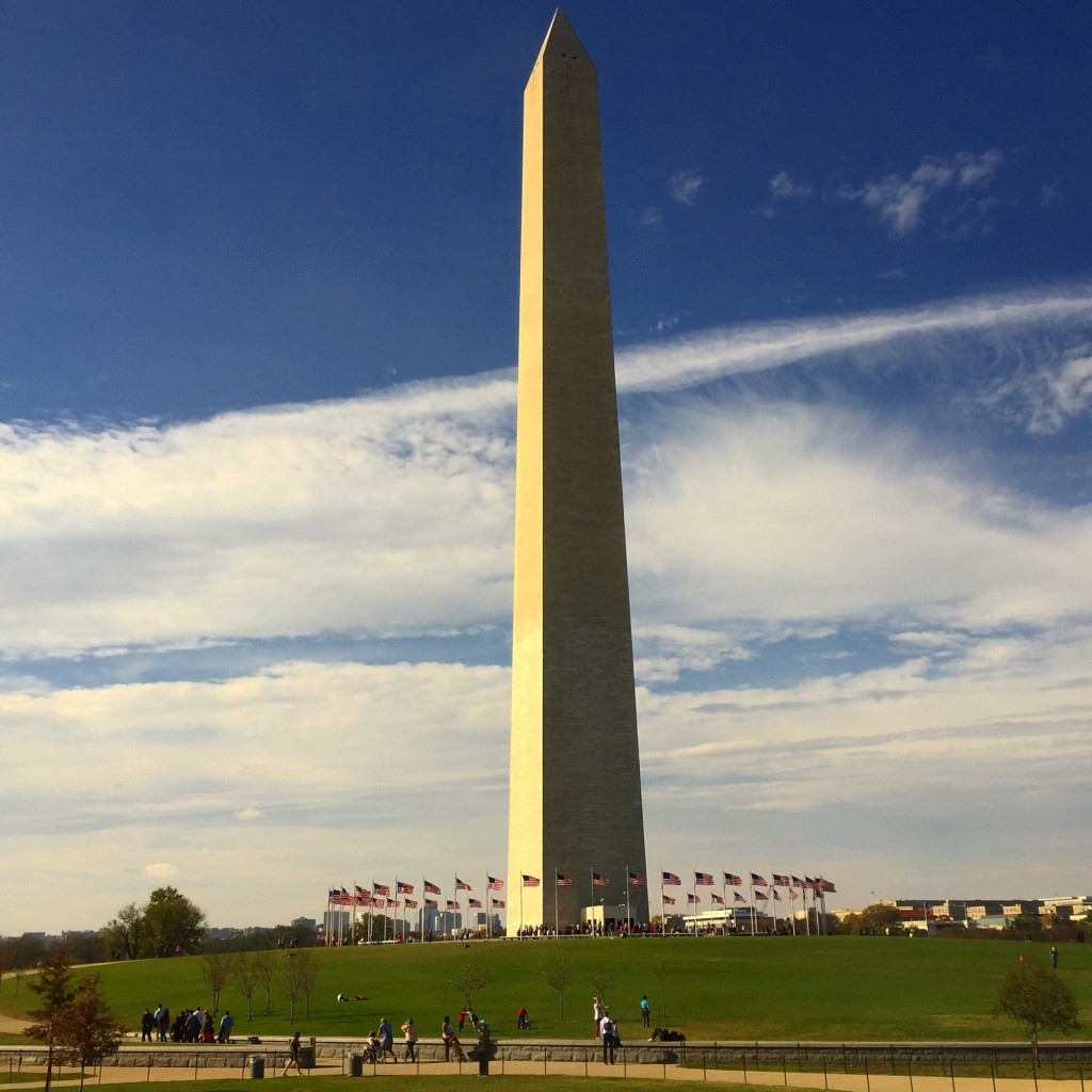 The clouds parted for a beautiful view of the Washington Monument.