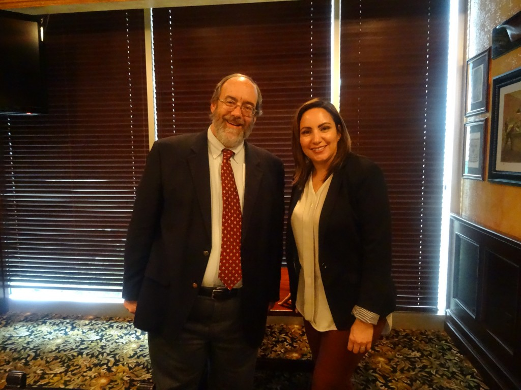 Dr. Schwalbenberg with Israly Echegaray--IPED alumna and International Trade Specialist with the Dept. of Commerce.