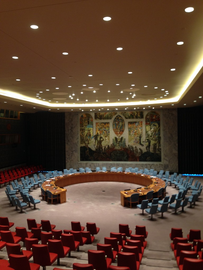 The UN Security Council meets in this beautiful room.