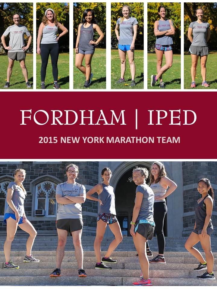 The marathon team got together on a beautiful fall day on Fordham's Rose Hill campus for a photo shoot.