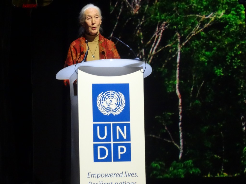 UN Messenger of Peace Jane Goodall was one of many speakers at the event, which was MC'd by Alec Baldwin.